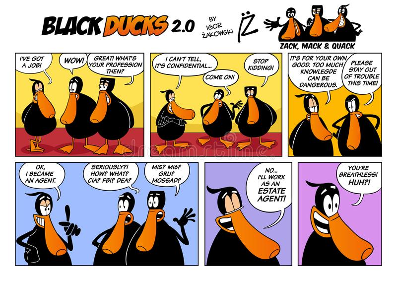 Black Ducks Cartoon Comic Strip 2 episode 2. Cartoon Illustration of Black Ducks 2 Comic Story Episode 2 royalty free illustration