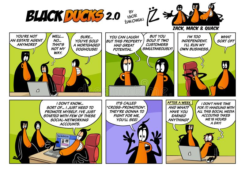 Black Ducks Cartoon Comic Strip 2 episode 3. Cartoon Illustration of Black Ducks 2 Comic Story Episode 3 stock illustration