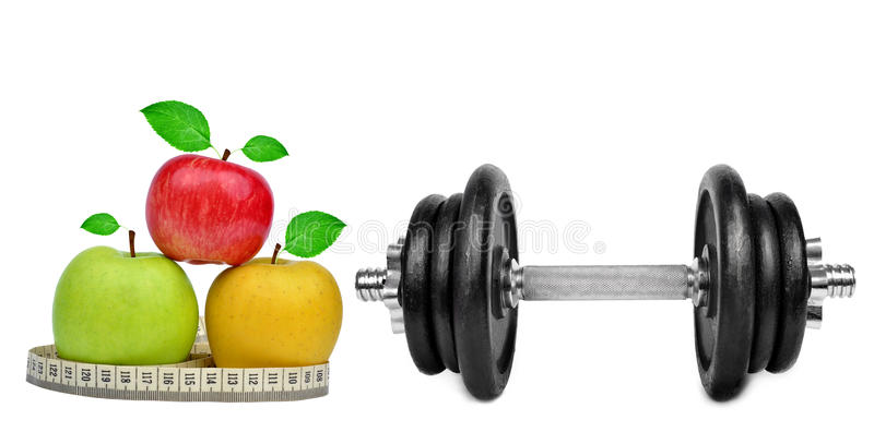 Download Black dumbbell with apples stock photo. Image of dieting - 39239784
