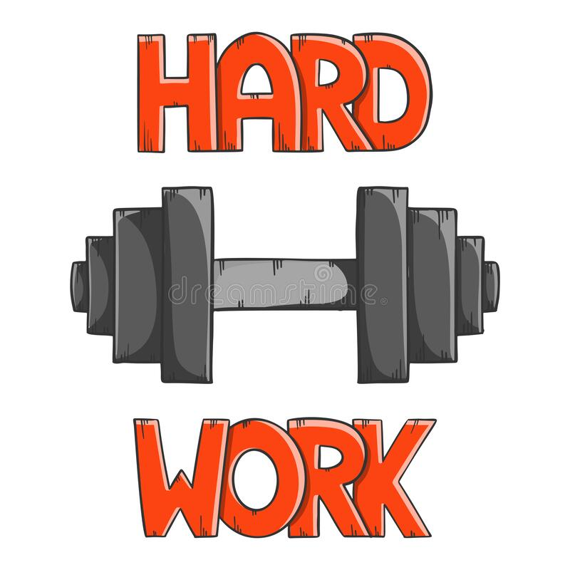 Black dumbbell for weightlifting with lettering Hard Work. Cartoon style vector. Isolated on white background vector illustration