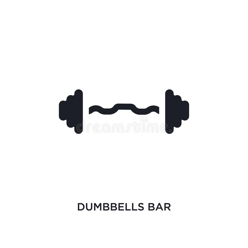 Black dumbbells bar isolated vector icon. simple element illustration from gym and fitness concept vector icons. dumbbells bar. Editable logo symbol design on royalty free illustration
