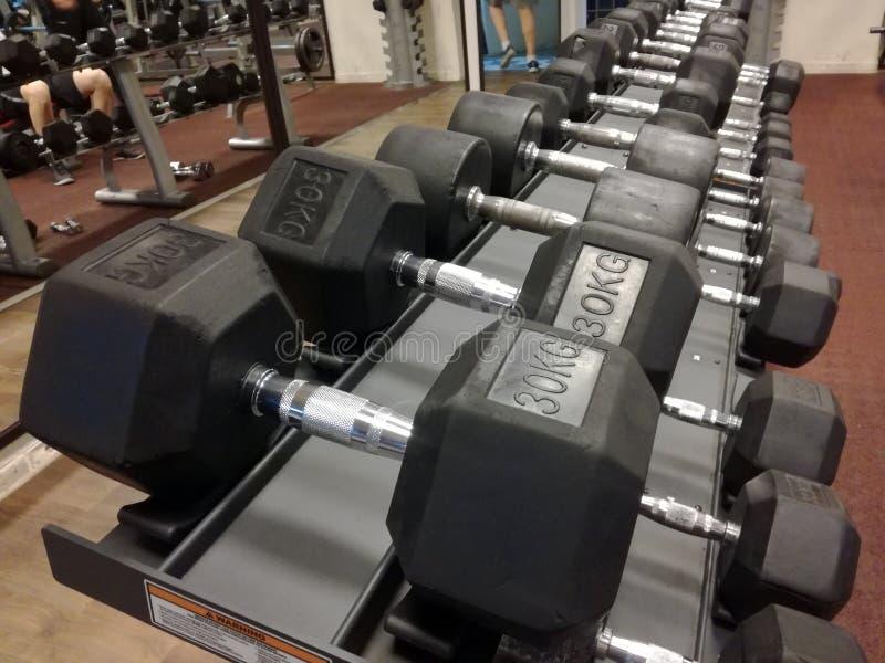 Dumbbells on rack. Black dumbbells on rack in the gym royalty free stock images