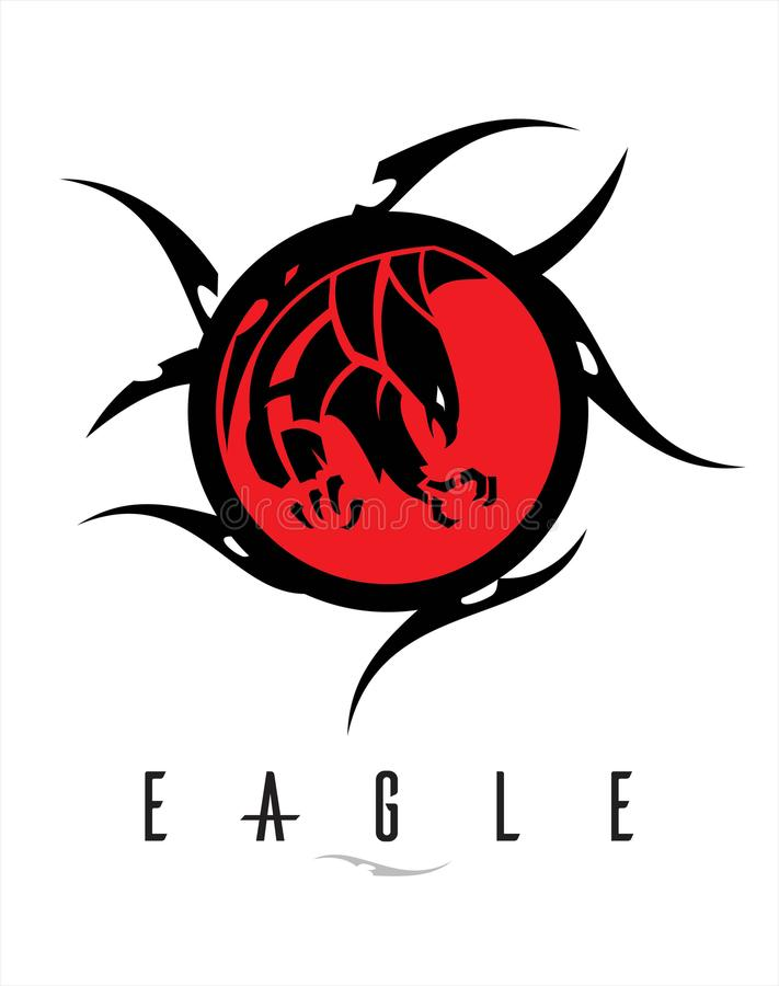 black eagle with the sharp big claw on the red circle tribal. royalty free illustration