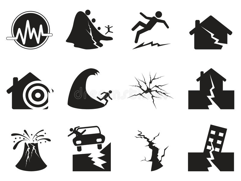 Black earthquake icons set royalty free illustration