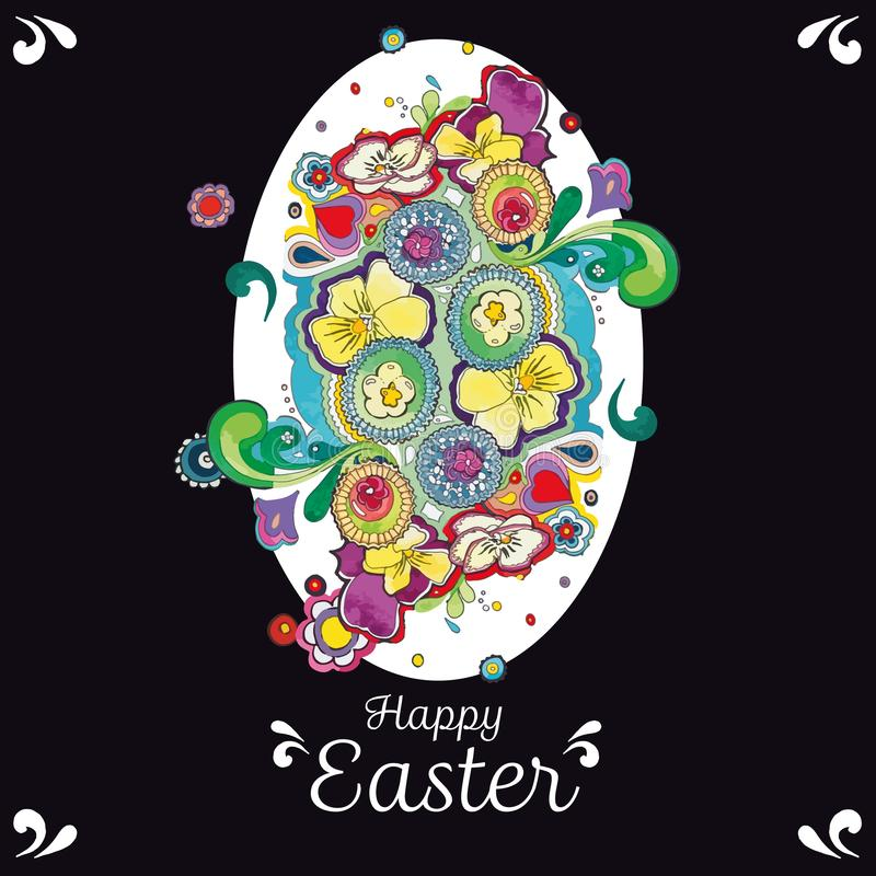 Black easter greeting card with floral decoration. vector illustration