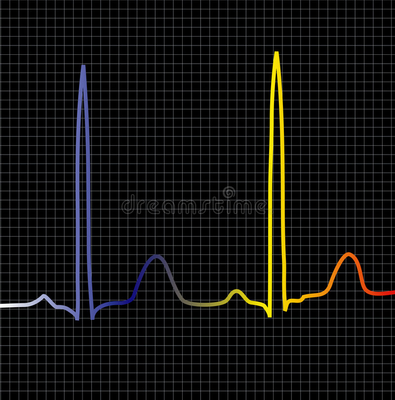 Black ecg. An ecg display to show heart beat or computer related information stock illustration