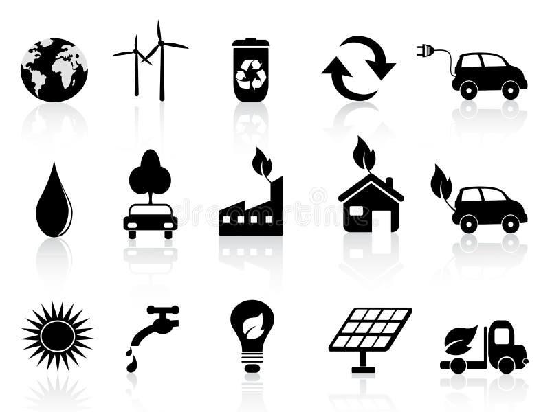 black ecosymbolen vektor illustrationer