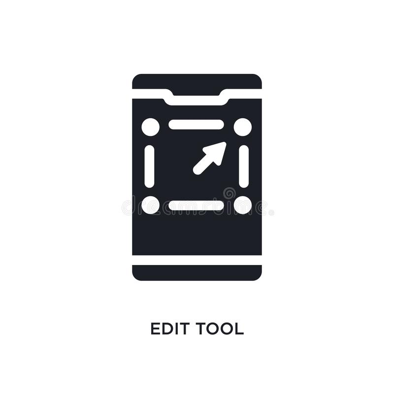 Black edit tool isolated vector icon. simple element illustration from mobile app concept vector icons. edit tool editable logo. Symbol design on white stock illustration