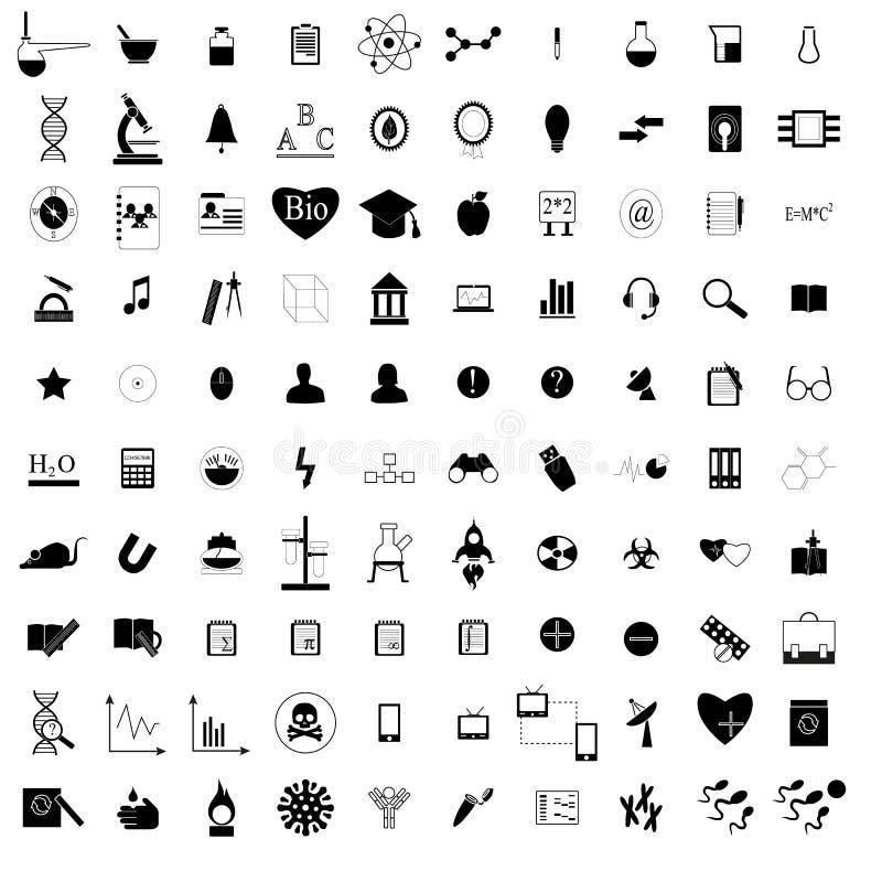 100 black education icons set stock illustration