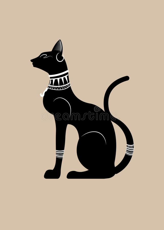 Black Egyptian cat. Bastet, ancient Egypt goddess, statue profile with Pharaonic gold jewelry, vector Illustration isolated stock illustration