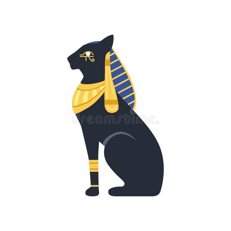 Black Egyptian cat. Bastet, ancient Egypt goddess, vector Illustration. On a white background royalty free illustration