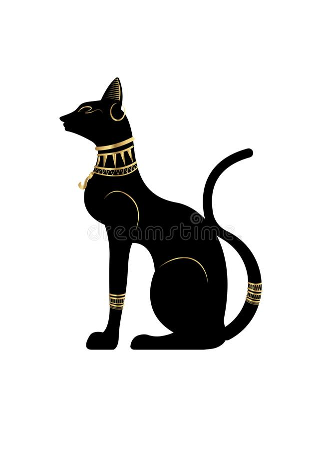 Black Egyptian cat. Bastet, ancient Egypt goddess, statue profile with Pharaonic gold jewelry, vector Illustration isolated. Black Egyptian cat statue. Bastet stock illustration