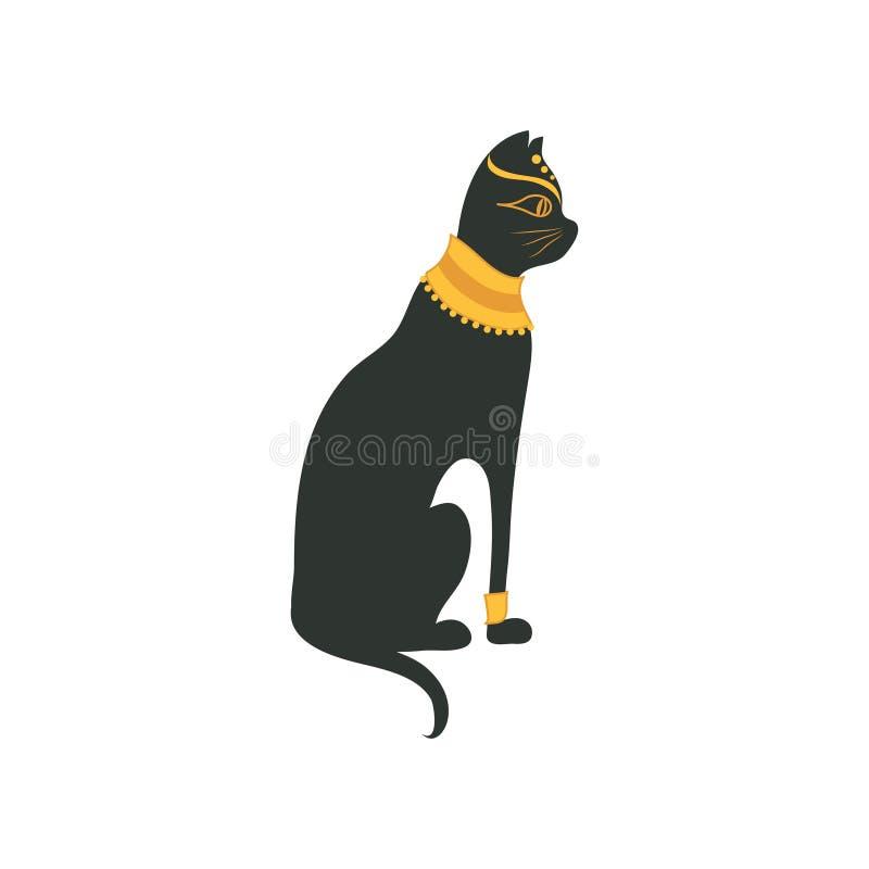 Black Egyptian Cat Symbol Of Traditional Egyptian Culture Cartoon