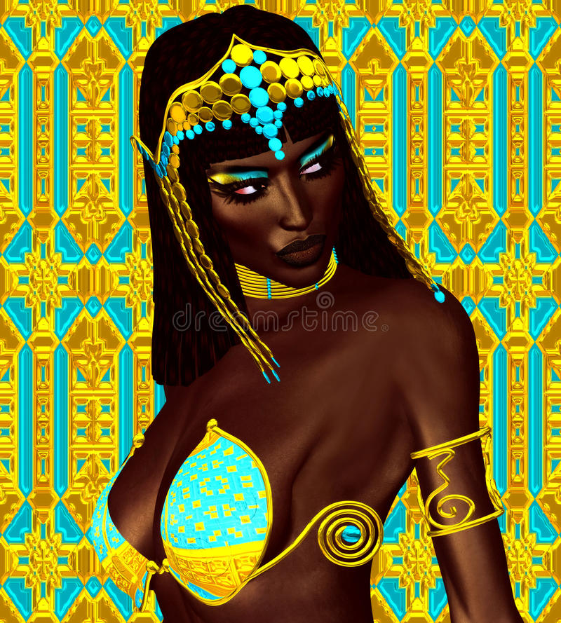 Black Egyptian princess in our modern digital art style, close up. royalty free illustration