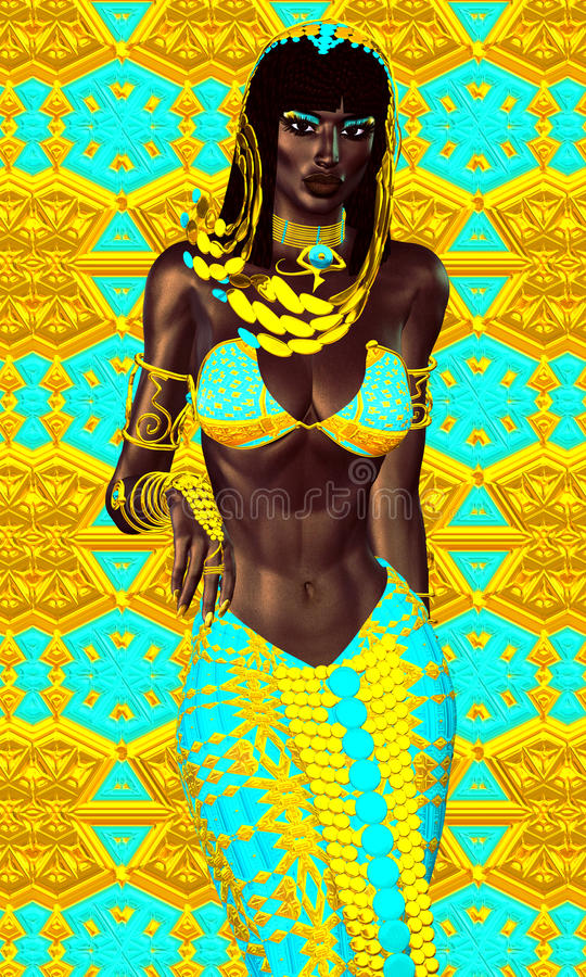 Black Egyptian princess in our modern digital art style, close up. vector illustration