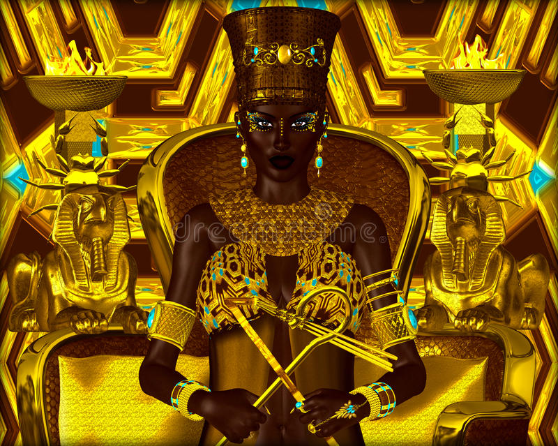 Black Egyptian princess in our modern digital art style, close up. Nubian Princess. Seated on a gold chair with the crook and flail in her hands, she exudes vector illustration