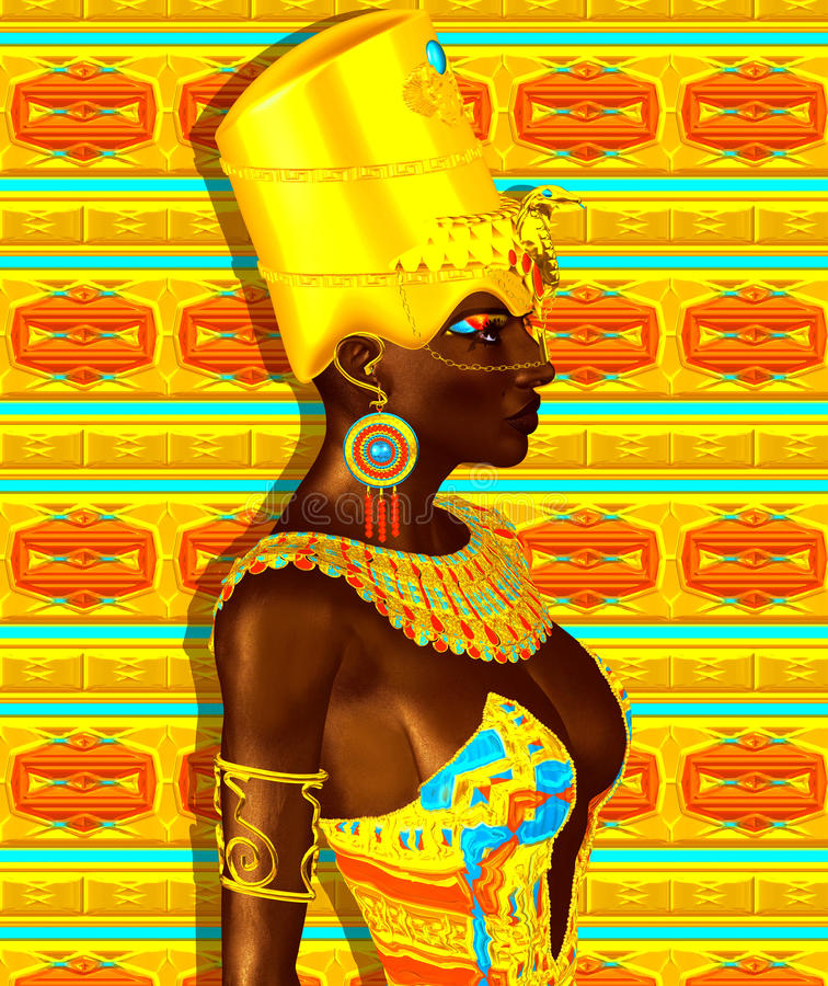 Black Egyptian princess in our modern digital art style, close up. stock illustration