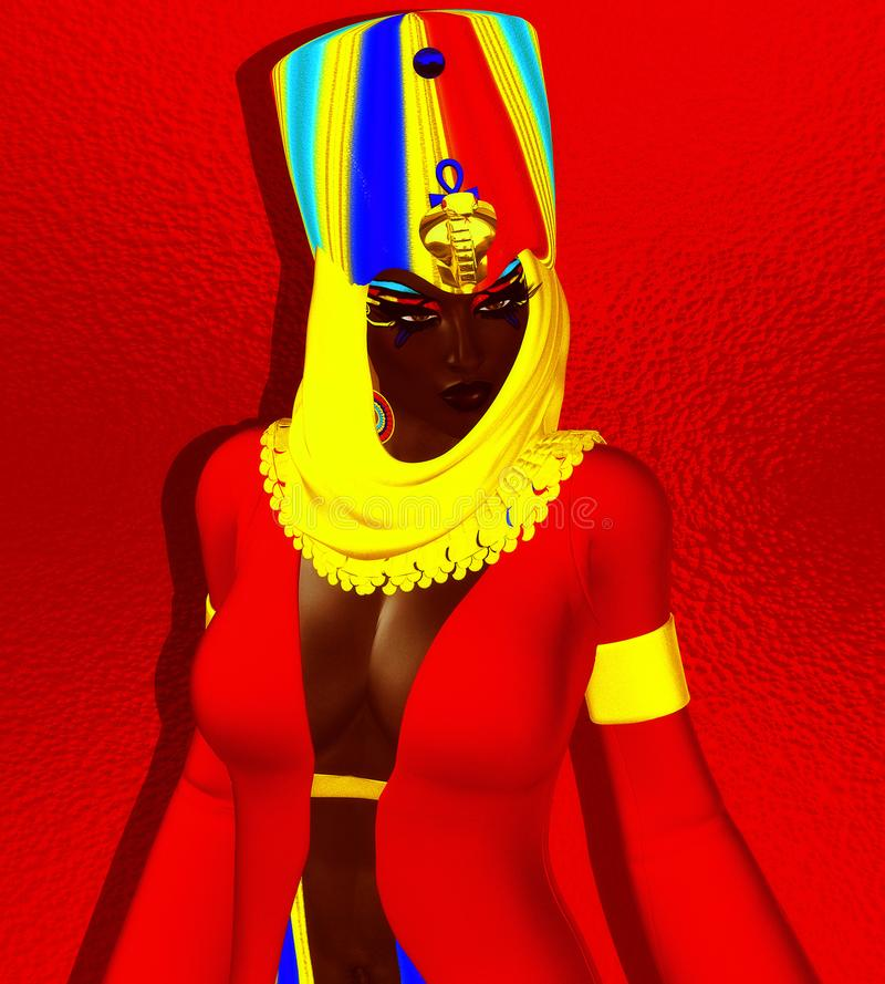 Black Egyptian Woman, princess, pharaoh or queen. royalty free illustration