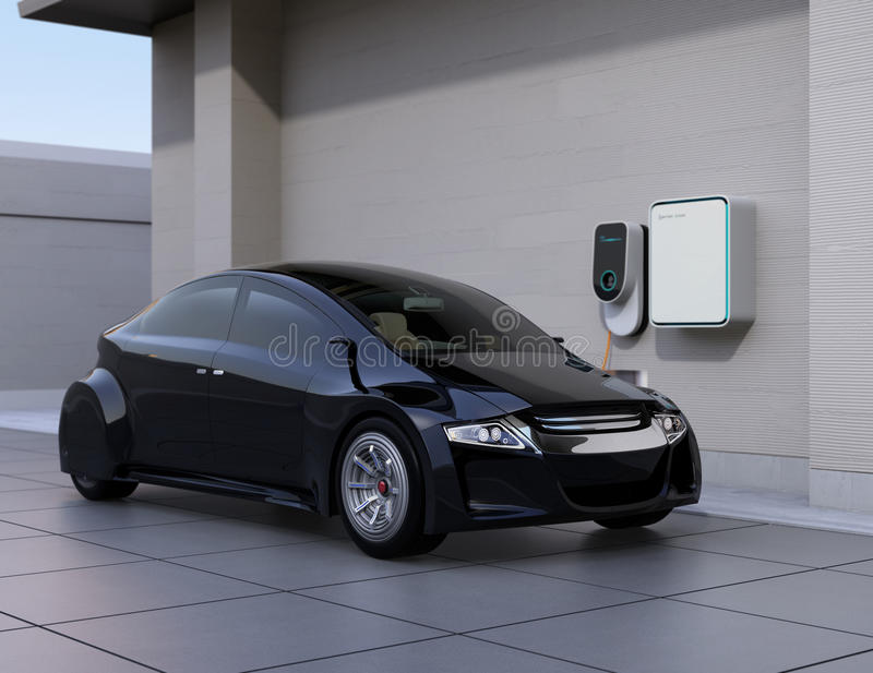 Black electric car charging at home charging station royalty free illustration