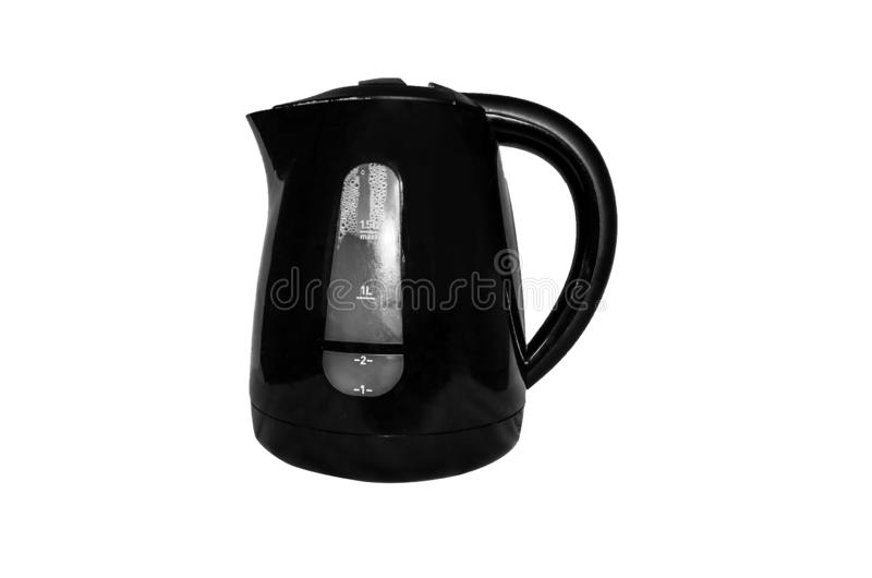 Black electric kettle isolated on white background royalty free stock photography