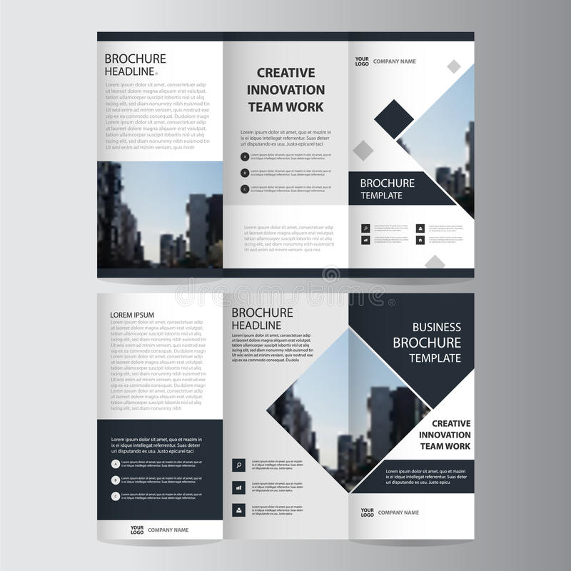 Black elegance business trifold Leaflet Brochure Flyer template. Vector minimal flat design set vector illustration
