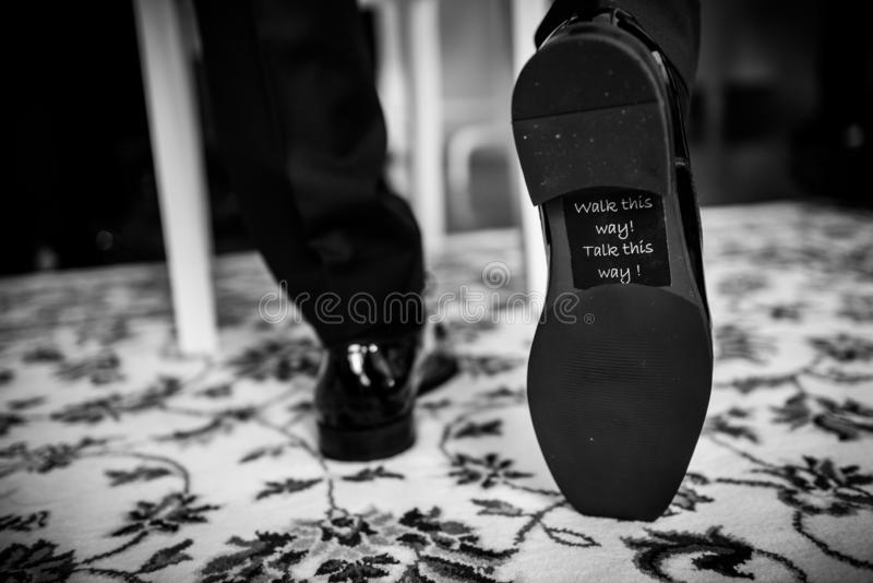 Groom wedding shoes royalty free stock photos