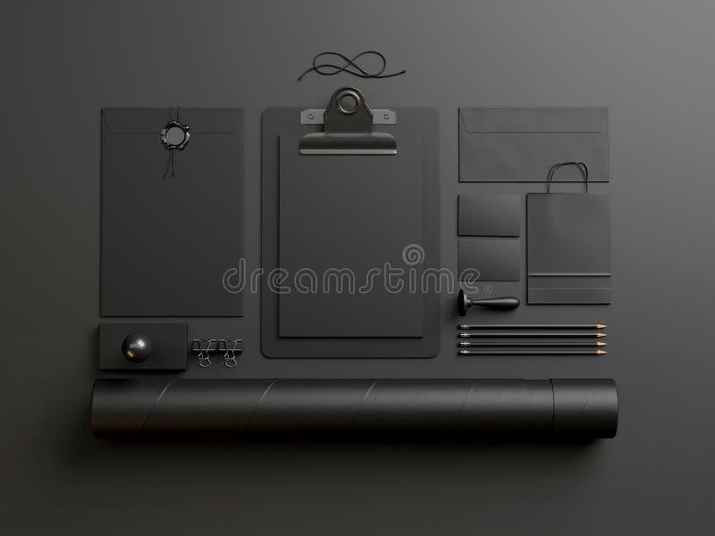 Black elements on dark paper background. Set of stationery elements on paper background vector illustration