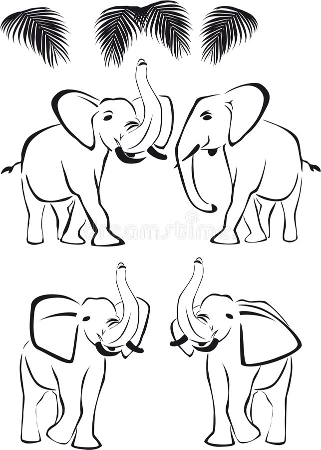 Download Black Elephant, Trunk Up And Down, Wild Animals Stock Vector - Image: 8867289