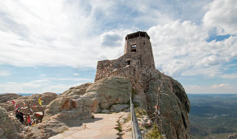 Black Elk Peak formerly known as Harney Peak Fire Lookout Tower in Custer State Park in the Black Hills of South Dakota USA. Black Elk Peak formerly known as royalty free stock image