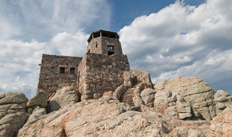 Black Elk Peak [formerly known as Harney Peak] Fire Lookout Tower in Custer State Park in the Black Hills of South Dakota USA. Black Elk Peak [formerly known as royalty free stock photo
