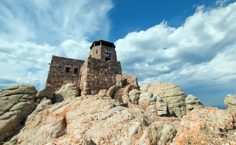 Black Elk Peak [formerly known as Harney Peak] Fire Lookout Tower in Custer State Park in the Black Hills of South Dakota USA. Black Elk Peak [formerly known as stock images