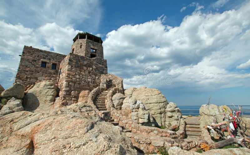 Black Elk Peak [formerly known as Harney Peak] Fire Lookout Tower in Custer State Park in the Black Hills of South Dakota USA. Black Elk Peak f[ormerly known as stock image