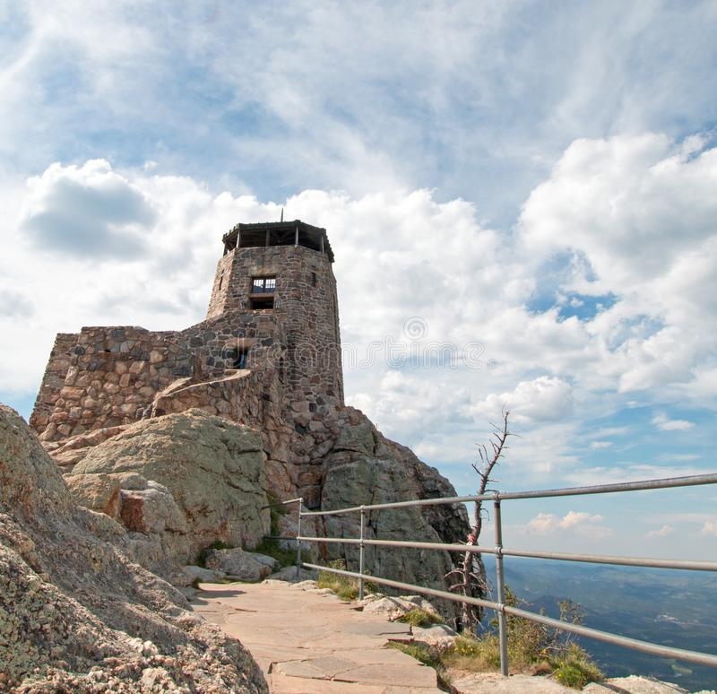 Black Elk Peak [formerly known as Harney Peak] Fire Lookout Tower in Custer State Park in the Black Hills of South Dakota USA. Black Elk Peak f[ormerly known as stock photography