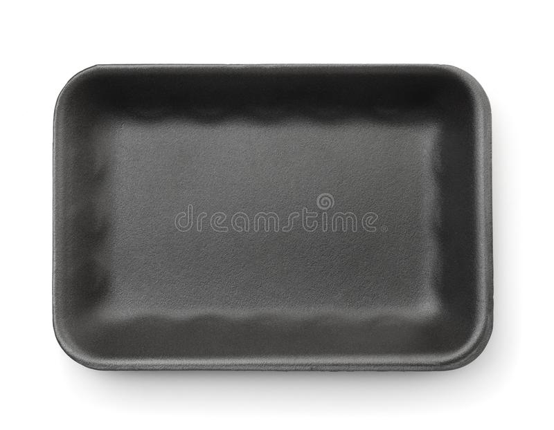 Black empty foam food tray. Top view of black empty foam food tray isolated on white stock images