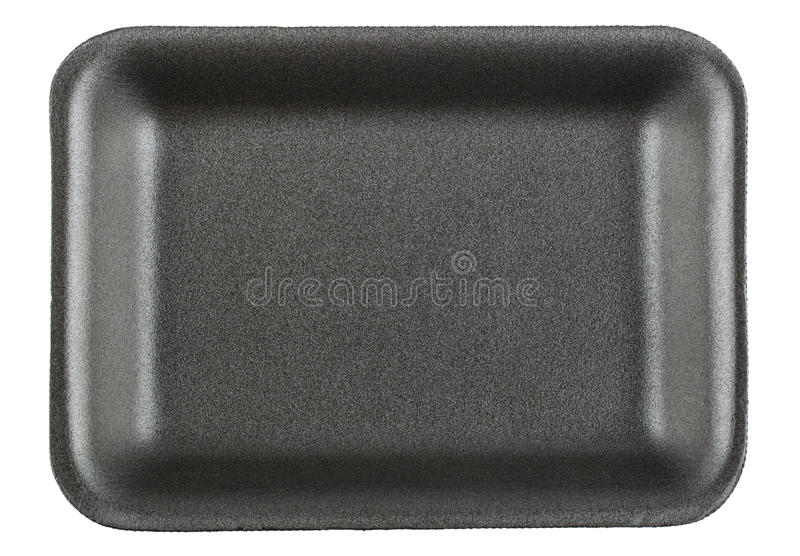 Black empty food tray. Isolated on white background stock photography