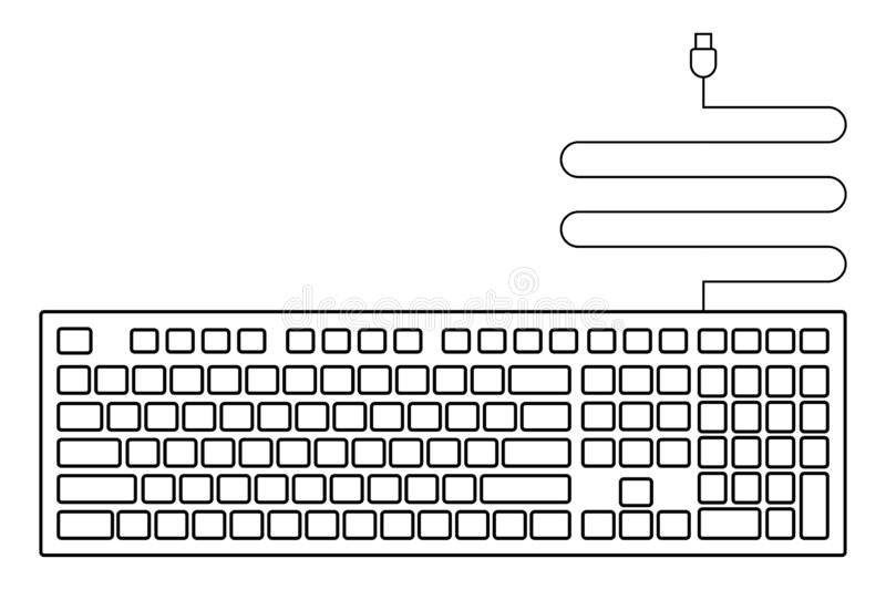 black empty usb keyboard icon for design vector illustration