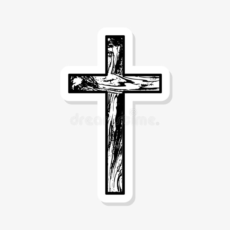 Black empty wooden Christian cross abstract pattern. Paper sticker stock illustration