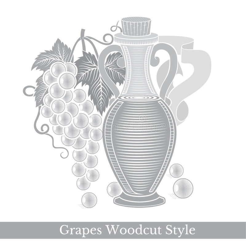 Black engraving label for food or cosmetics isolated on white. Glass bottle of grape seed oil or wine with grapes royalty free illustration