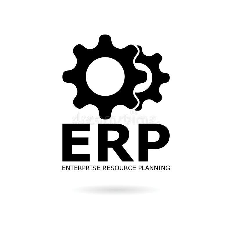 Black ERP icon or logo, Enterprise Resource Planning ERP Process. On white vector illustration