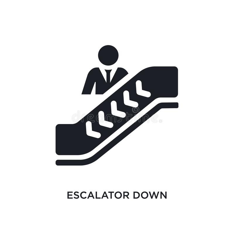 Black escalator down isolated vector icon. simple element illustration from accommodation concept vector icons. escalator down. Editable logo symbol design on stock illustration