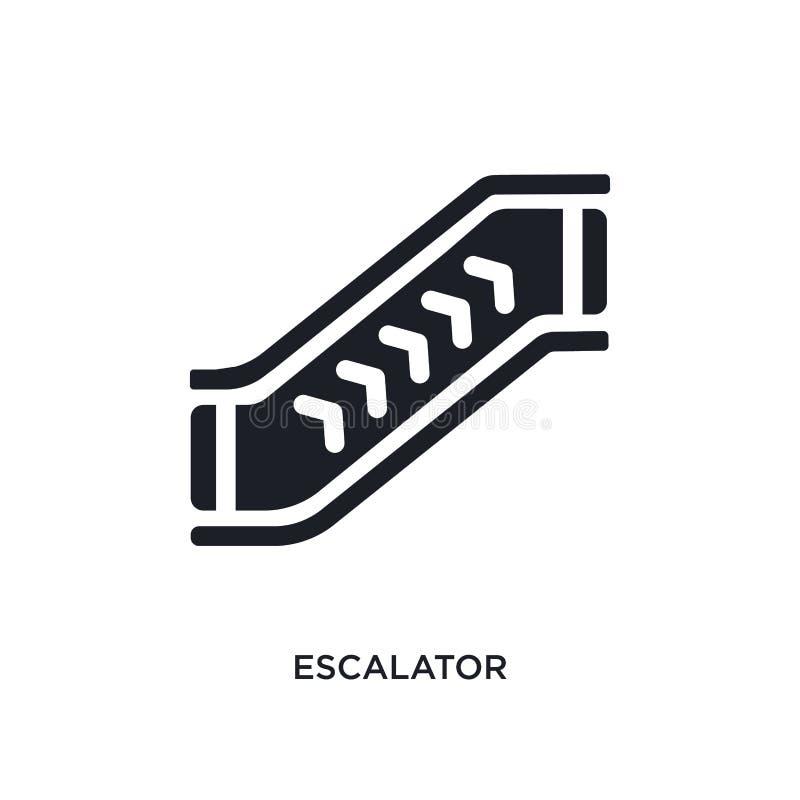 Black escalator isolated vector icon. simple element illustration from accommodation concept vector icons. escalator editable logo. Symbol design on white royalty free illustration
