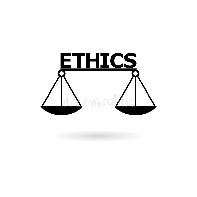 Black Ethics word, Ethics text, Ethics icon or logo. On white vector illustration