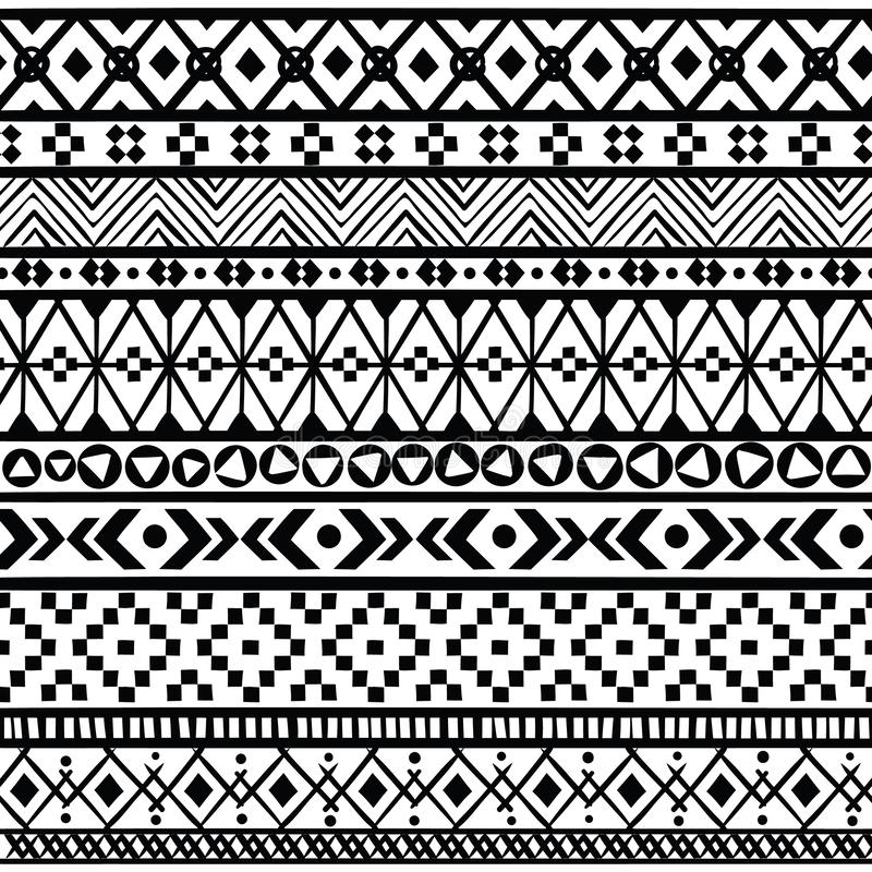 Black ethnic borders. Seamless ornaments mexican, american and aztec geometric patterns, black and white textile print. Black ethnic borders. Seamless ornaments vector illustration