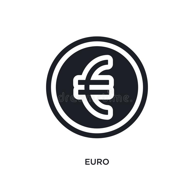 black euro isolated vector icon. simple element illustration from e-commerce and payment concept vector icons. euro editable black royalty free illustration