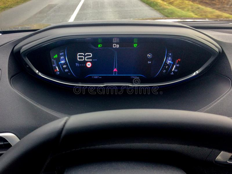 Black european modern car digital dashboard stock image