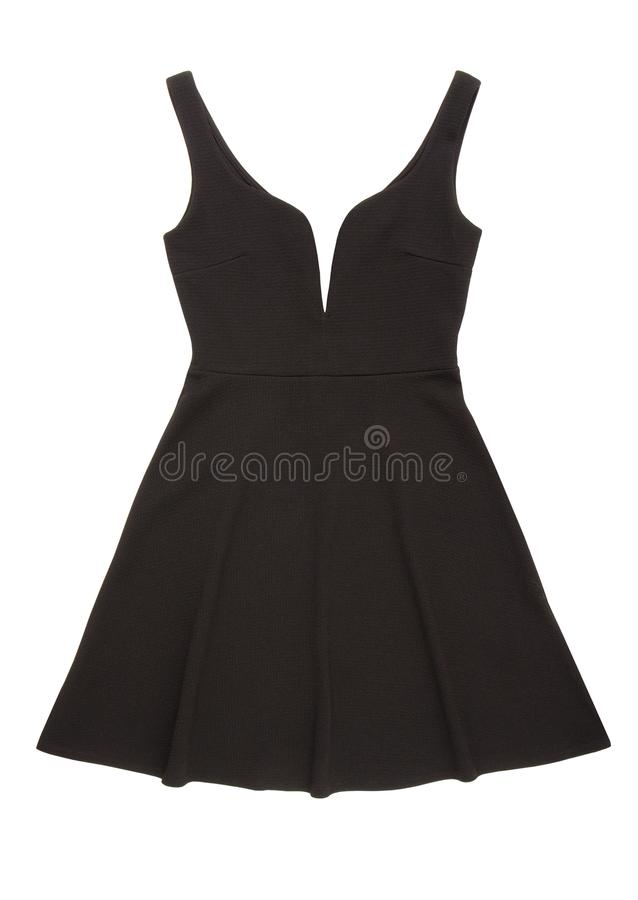 Black evening dress with low neckline, cocktail black gown, beau stock photos