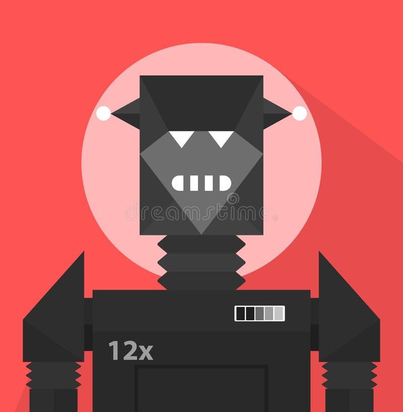 Black Evil Robot Character vector illustration