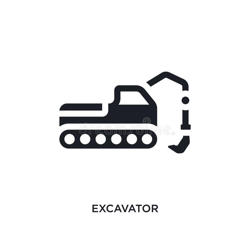 Black excavator isolated vector icon. simple element illustration from industry concept vector icons. excavator editable logo. Symbol design on white background royalty free illustration