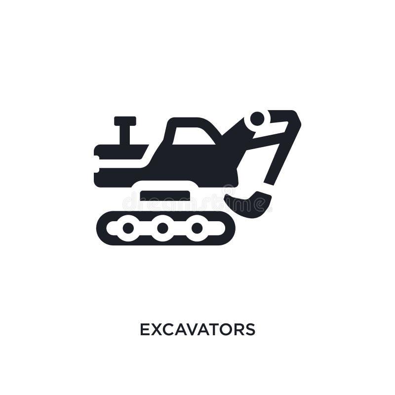 Black excavators isolated vector icon. simple element illustration from transportation concept vector icons. excavators editable. Logo symbol design on white vector illustration