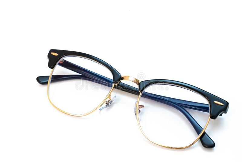 Black eye glasses spectacles with shiny black frame For reading royalty free stock images